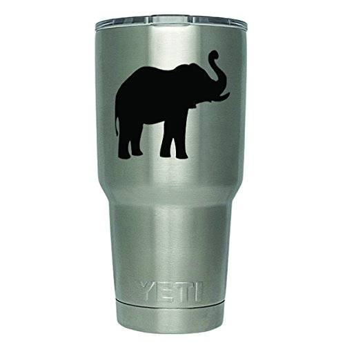 DD357 2-Pack Elephant Decal Sticker (DECAL ONLY CUP NOT INCLUDED) | 3 Inches | Premium Quality Black Vinyl | Yeti RTIC Orca Ozark Trail Tumbler Decal