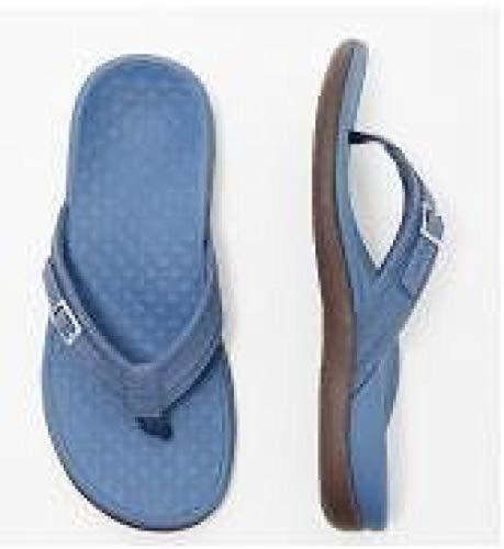 MedusaABCZeus Sandalias de Verano Playa,Calzado de Playa de Masaje Antideslizante de Gran tamaño, Resistente al Desgaste, para Mujeres-Azul Zafiro_37,Toe Post Sandals