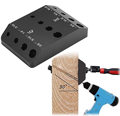 Guía de taladro para el kit de barandilla de cable,tornillo de retraso de montaje de poste de madera,se adapta a cubierta horizontal de 90 grados y barandilla de escaleras en ángulo de 45 y 30 grados
