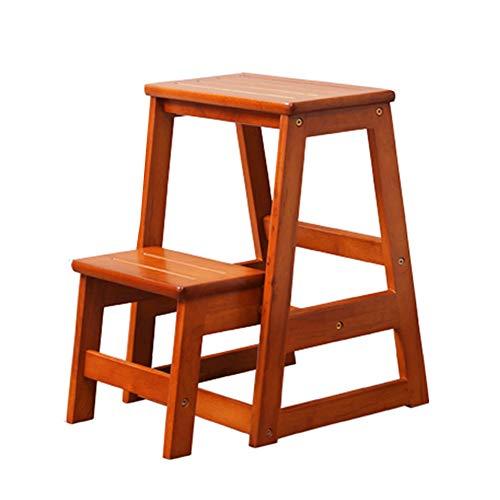 ZENFAI Tabouret D'échelle Chaise Pliante En Bois Pliable Antidérapant Sécurité Stable Cadre Décoratif, 2 Couleurs (Couleur : B, taille : 405x515x553mm)