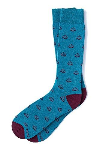 Men's Hipster Legal Scales of Justice Lawyer Crew Dress Socks (Marine Blue & Burgundy)