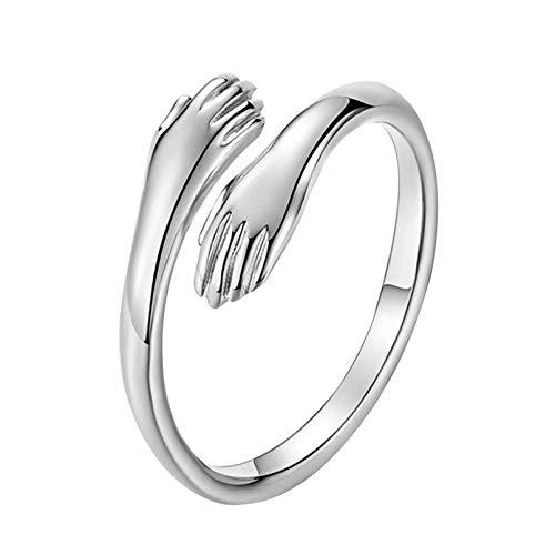 AJFIEF Anillos de plata para parejas, románticas manos de abrazo abrazo anillo de apertura, anillo de compromiso ajustable para novia y novio, joyería para pareja (plata, mujer)