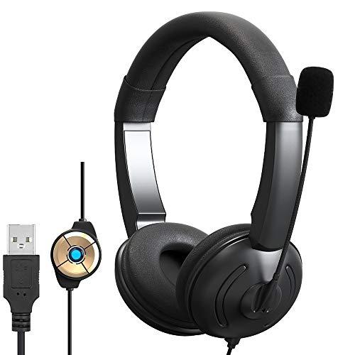 GLR Cuffie USB con Microfono cancellazione del Rumore e Controlli in Linea, Cuffie PC per Skype SoftPhone UC Business Call Center, insegnamento Online, Super Leggero, Ultra Comfort