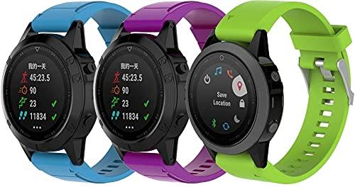 Chainfo Correa de Reloj Compatible con Garmin Fenix 6S Pro/Fenix 6S / Fenix 5S/5S Plus (42MM), Silicona Banda de Reemplazo Pulsera (3-Pack H)