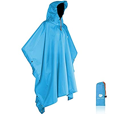 Anyoo Waterproof Rain Poncho Lightweight Reusable Hiking Hooded Coat Jacket for Outdoor Activities