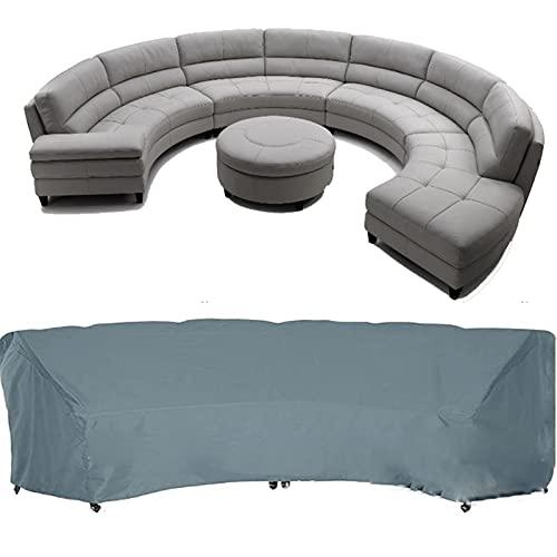 Garden Curved Sofa Cover, Gartenmöbel Cover, Outdoor Curved Sofa Cover, wasserdichte Outdoor Möbel Cover, für Half-Moon Couch Sets Sofa (ohne Sofa)