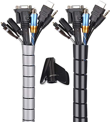 MOSOTECH Organizador Cables, Cubre Cables de 2 x 3m, Flexible Funda Organizador Cables, Organizador de Cables Mesa, Recoge Cables para Office y PC Escritorio-Negro y Gris(Ø2.6cm y Ø2.2cm)