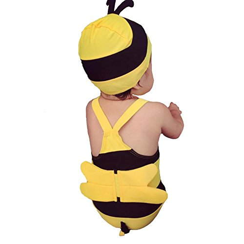 The Beach Stop adorabile set composto da costume intero e cappellino, motivo ape, per neonati e bambini Yellow, Black XX-Small