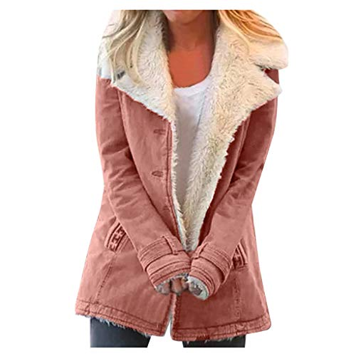 Fxkareiten Abrigo de mujer de manga larga, elegante, botones finos, abrigo largo, resistente al viento, chaqueta de otoo, parka con cuello de solapa, chaqueta de entretiempo, parka, J5 Rosa, L