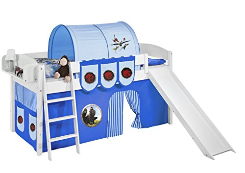 Lilokids Spielbett IDA 4105 Dragons Blau - Teilbares Systemhochbett weiß - mit Rutsche und Vorhang