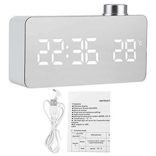 TEANQIkejitop Sveglia Digitale Orologio Digitale da Cámara USB Rilevamento di Umidità E Temperatura Cámara da Letto de Comodino de Orologio en Legno Nero