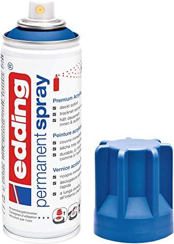 edding 5200 Permanent-Spray - enzian-blau matt - 200 ml - Acryllack zum Lackieren und Dekorieren von Glas, Metall, Holz, Keramik, lackierb. Kunststoff, Leinwand, u. v. m. - Sprühfarbe