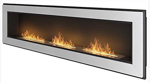 Cheminée au bioéthanol en cuivre 1800mm x 490mm Blanc semi-brillant/noir mat
