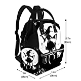 Baby Care Diaper Backpack Dancing Witch with Broom and Cat in Big Hat Silhouette Diaper Bags Backpack