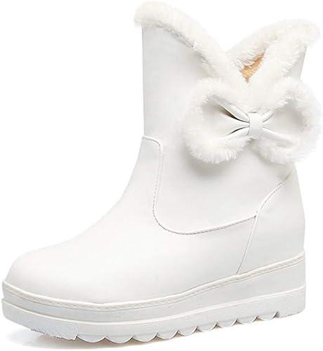 Shirloy Tete Ronde Talon Bas Bottes Neige Neige Neige augHommestées Noeud Doux Bottes beauté Chaussures grantaille pour Les Les dames c67