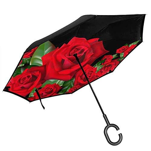 Großer gerader Regenschirm innen außen 2-lagig faltbar Winddicht UV-Schutz tragbar mit C-förmigen Griff innen 3D Rose Tapers Print für Auto Regen Outdoor 8 Skelett