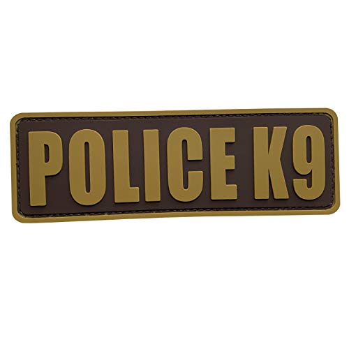 uuKen Coyote Tan K9 Police Patch 6x2 inch PVC Patch for Service Dog in Training Working for Dog Harness Collar Vest Plate Carrier (Coyote Tan, M6'x2')