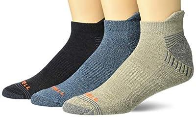 Merrell womens Repreve Cushioned Low Cut Tab 3 Pair Casual Sock, Brindle Marl, Black Heather, Denim Marl, Medium-Large US