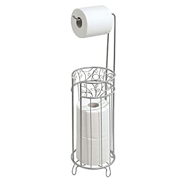mDesign Free Standing Toilet Paper Roll Holder for Bathroom Storage - Silver