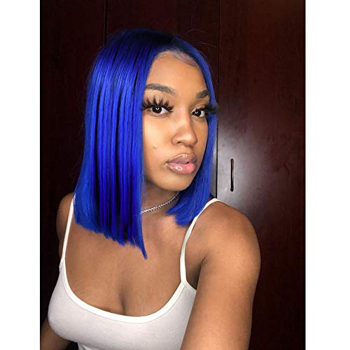 "Short Bob Wigs 14"" For Women Synthetic Wigs Straight Costume Wigs Halloween Party Christmas Cosplay Wigs(Blue)"