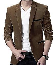 jiejiegao Mens One Button Coat Long Sleeve Corduroy Lapel Casual Blazer Jacket