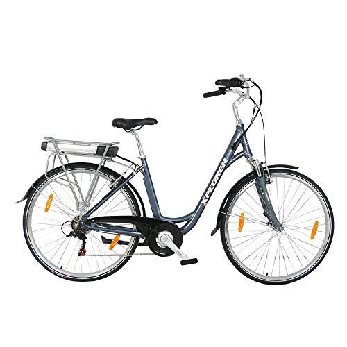 Silver Line Lady, 26 Pulgadas, Bicicleta Eléctrica para Adultos, E-Bike con Motor 250W BAFANG, Batteria 36V 13AH, con Freno a V TEKTRO, Palanca de Cambios Shimano Tourney 6 Speed