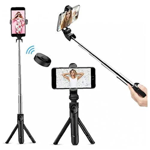 Selfie Stick Bluetooth, trípode de Stick Stick Bluetooth extensible con soporte remoto inalámbrico y trípode desmontable para viajar, compatible con iPhone/Samsung/Huawei y más fuerte y robusto