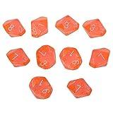 CUHAWUDBA 10-WüRfel D10 Zehnseitige EdelsteinwüRfel für RPG Brettspiele Transparent Orange