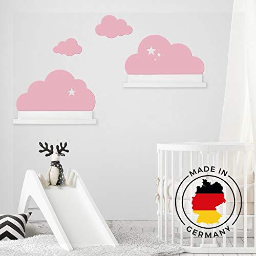 Wandtattoo Wolken in rosa mit Sterne für IKEA Regalbrett Ribba/Mosslanda 55 cm Bilderleiste für Babyzimmer Kinderzimmer – Aufkleber für Wand Tapete