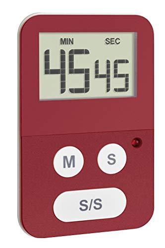 TFA Dostmann Digitale Stoppuhr mit Timer, 38.2047.05, mit Alarm LED, klein und handlich, rot