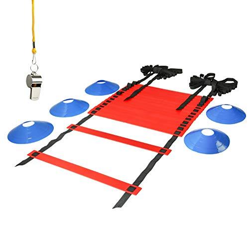 LionSports Koordinationsleiter mit Übungsvideo – (Verbesserte Trainingsleiter Version 2020) Perfektes Trainingszubehör für Fussballtraining mit Markierungshütchen und Trillerpfeife (Rot, 6 Meter)