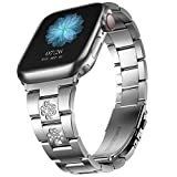 CCnutri Compatible with Apple Watch Bands 38mm 40mm, Innovative No Tool Needed Stainless Steel Replacement Straps iWatch Bracelet for Apple Watch Series 6 5 4 3 2 1 SE, Silver with Diamond