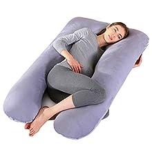Almohada de embarazo, almohada de cuerpo completo con forma de U grande, 100% algodón con funda de terciopelo reemplazable y lavable para dormir y alimentar, 70 x 145 cm gris (Gris)