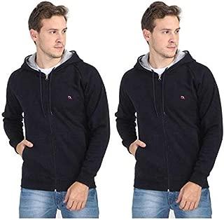 Quco Men's Cotton Fleece Hood Sweat Shirt Combo Pack of 2- (Navy)
