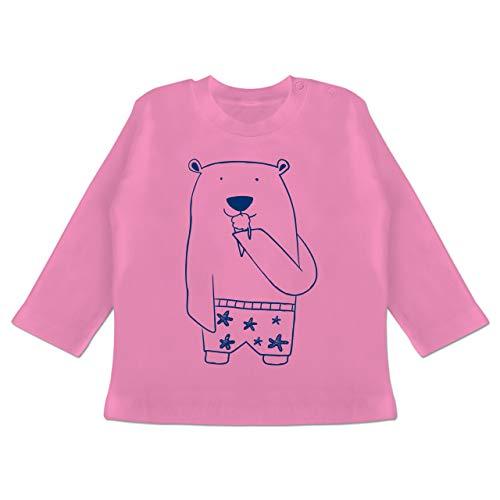 Shirtracer Bunt gemischt Baby - Süßer Bär in Badehose - 18/24 Monate - Pink BZ11 - Baby T-Shirt Langarm