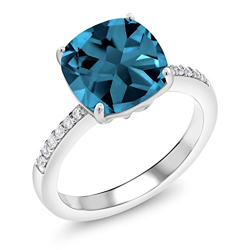Gem Stone King 925 Sterling Silver London Blue Topaz Women's Engagement Ring (4.47 Cttw Cushion Cut Gemstone Birthstone, Available in size 5, 6, 7, 8, 9)