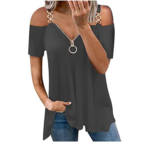 Damen Sommer Sexy T-Shirt Tops Damen Trendy Casual Loose Fit Trägerlose Tunika Blusen Kurzarm Solide Reißverschluss Tees, A01 @ dunkelgrau, Klein