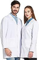 Icertag Bata de Laboratorio Unisex,médico Abrigo Abrigo de Mujer Hombre,Abrigo Blanco para Damas,Adecuado para...