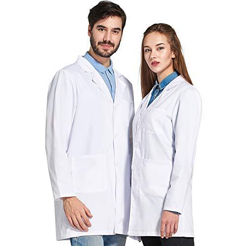Icertag Kittel,Laborkittel, Arztkittel, Arztkittel für Frauen Herren, Weißer Mantel für Damen Herren, Geeignet für Studenten, Wissenschaftslabor, Krankenschwester, Cosplay, Baumwollkittel (Medium)