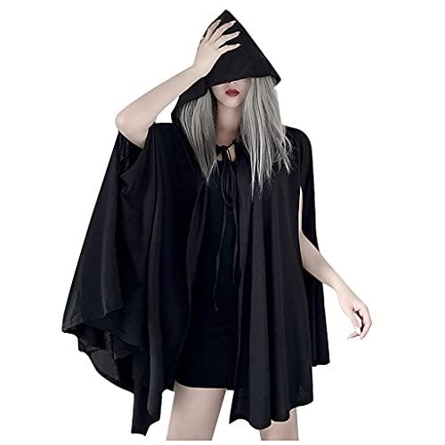 Dasongff Robe Punk Gothique Cape à Capuche Noir Femme Vêtements Gothiques Lolita Retro Femme Sexy Robe Mini Robe à Bretelles Robe de Fête Carnaval Vacances Robe Taille Empire