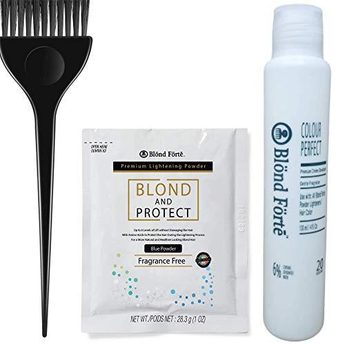 Hair Lightening Kit – Hair Lightener, 20 Volume Developer, Nitrile Glove & Processing Cap – Lightener Kit for Light, Dark Brown Hair, Black Hair – 8+ Levels of Lift (Made in Italy) (Blue Powder)