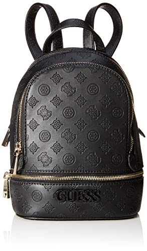Guess Damen Skye Backpack Rucksack, Schwarz (Black), 9x26.5x20 Centimeters