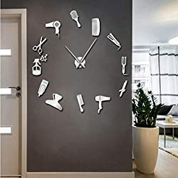 Wangjru 37Inch Barber Shop Hair Tools Oversized DIY Wall Clock Frameless Hair Salon Big Time Clock Fashion Hairdresser Room Decor