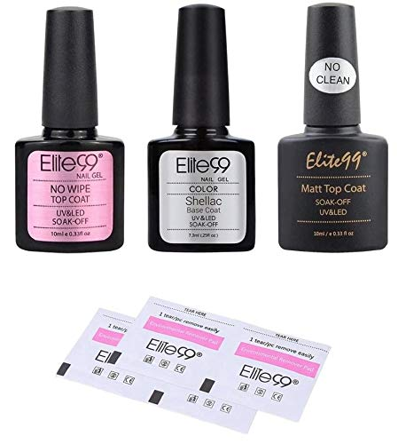 Elite99 Esmaltes de Uñas, Base Coat y Top Coat Semipermanentes, Top Coat Mate, Esmaltes de Gel Uñas UV LED, 3pcs Kit de Esmaltes Semipermanentes para Uñas con 10pcs de Removedores como Regalo