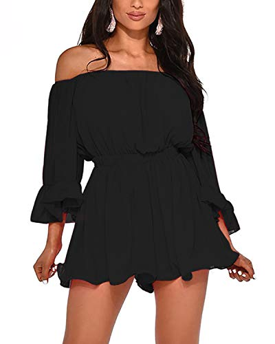 BIUBIU Womens Romper Dress,Romper and Jumpersuit for Women Summer Chiffon Off Shoulder Dresses with Sleeves Black XL
