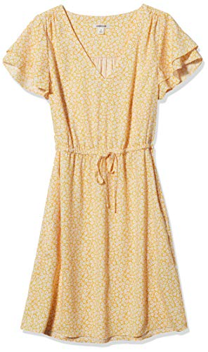 Amazon Brand - Goodthreads Women's Georgette Ruffle-Sleeve Mini Dress, Yellow Scattered Floral Print, Medium