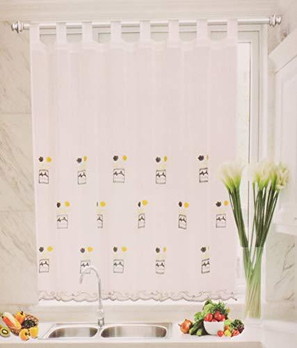 Cortina Cocina Ventana Visillo Translúcida para Hogar Sala Dormitorio Balcón y Cocina, Cortina Bordado Decorativa Suave (Flor Azul, 90 x 150 cm)