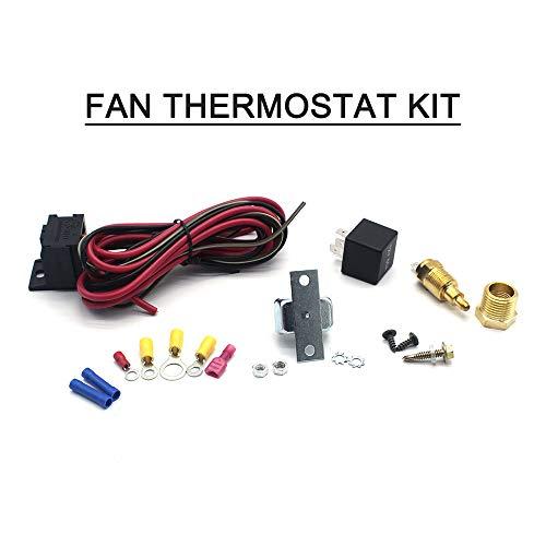 Sunydog Kit de termostato del Ventilador Kit de Controlador de Ventilador Ajustable Kit de relé de Temperatura del Sensor de Temperatura # 3101, Encendido A 200 Grados F Apagado A 185 Grados F