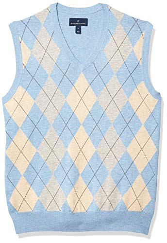 Amazon Brand - Buttoned Down Men's 100% Supima Cotton Sweater Vest, Light Blue Argyle, X-Large