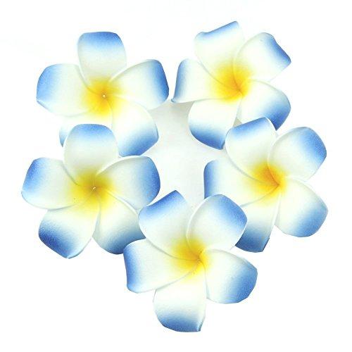 TININNA 100 Pcs Plumeria Mousse Deco Galets Hawaïen Mousse Fleur de Frangipanier pour Mariage Décoration Fête Bleu